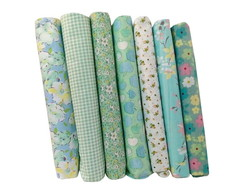Kit Tecido Verde p/ Patchwork 7pc-25x25