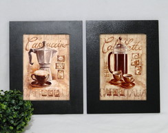 Kit 2 Quadros Decorativos Café Bule