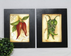 Kit 2 Quadros Decorativos Pimentas