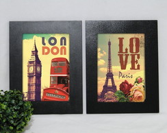 Kit 2 Quadros Decorativos Paris Londres