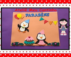Cartaz aniversariantes pinguins