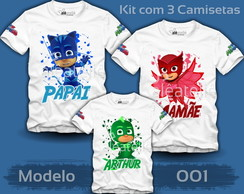 Kit 3 Camisetas PJ Masks