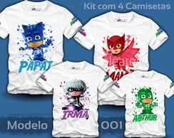 Kit 4 Camisetas PJ Masks