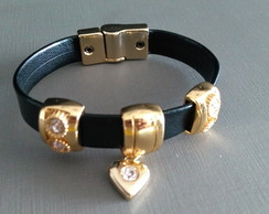 Pulseira black love strass