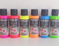 Kit Tinta Neon Fluorescente 60ml Acrilex