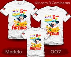Kit 3 Camisetas Mickey Mouse