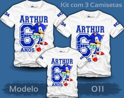 Kit 3 Camisetas Sonic Tails Amy Mario