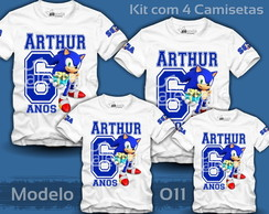 Kit 4 Camisetas Sonic Tails Amy Mario