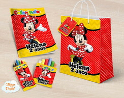 Kit colorir giz massinha e sacola Minnie