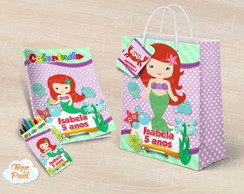 Kit colorir giz sacola Ariel Cute