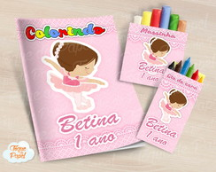 Kit colorir giz massinha Bailarina