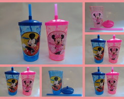 Copo Shake com Canudo de 500ml Mickey Minnie Rosa