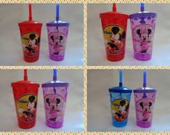 Copo c/ Canudo 500ml Minnie Rosa Mickey