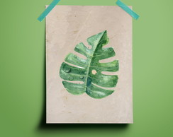 Poster Watercolor Leaf
