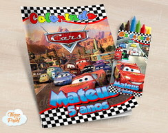 Kit colorir com giz de cera Carros Cars