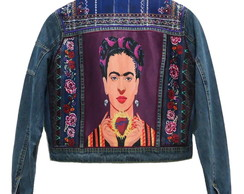Jaqueta Jeans Frida Kahlo Customizada