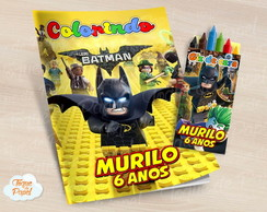 Kit colorir com giz de cera Lego Batman