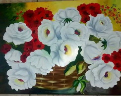 Quadro pintura, flores, rosas black friday