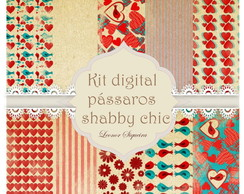 Kit digital pássaros shabby chic