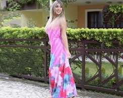 Vestido longo regata estampa total