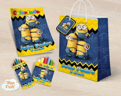 Kit colorir giz massinha sacola Minions
