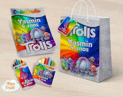 Kit colorir giz massinha e sacola Trolls