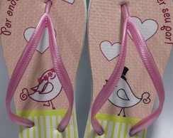 Chinelo Love Birds Rosa e Amarelo