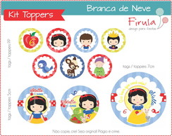 Kit Toppers / Tags Branca de Neve Azul