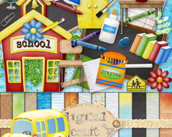 Kit Scrapbook Digital - Na escola I