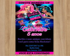 Convite Barbie Rock Royals 10x7cm