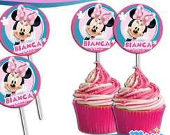 Topper Cupcake Minnie Mouse Rosa