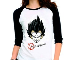 Camiseta Dragon Ball Z V For Vegeta 3/4
