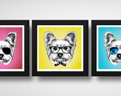 Kit 3 Quadros Yorkshire Pop Art