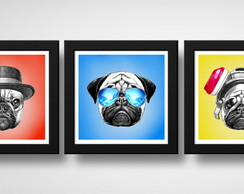 Kit 3 Quadros Pug Pop Art