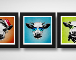 Kit 3 Quadros Vaca Hipster Pop Art