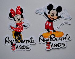 Apliques para tubetes Minnie e Mickey