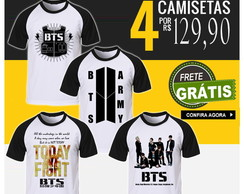 Kit 4 Camisetas Bangtan Boys BTS