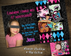 CONVITE DIGITAL C/TAG Monster High
