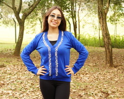 Cardigan bordado com pérolas - PLUS SIZE