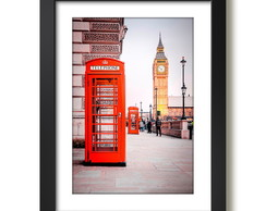 Quadro Londres Red Phone Big Ben Londres Arte Decoracao Sala