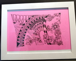 Quadro zentangle rosa