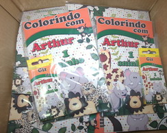 Kit colorir safari revista 20x14 e giz