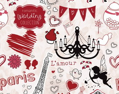 Papel de Parede Casual Paris France Love