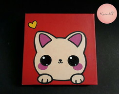 Quadro decorativo gato Kawaii