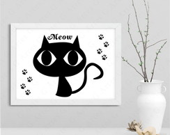 Quadro gato preto cartoon 137s