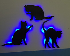 KIT 3 Gatos Luminárias LED MDF