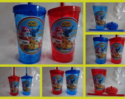 Copo c/ Canudo 500ml Super Wings
