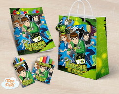 Kit colorir giz massinha e sacola Ben 10