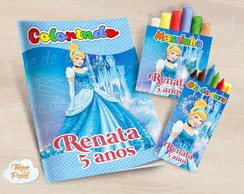 Kit colorir giz massinha Cinderela
