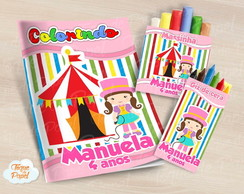 Kit colorir giz massinha circo rosa